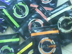 Torq energy produktprøver med vanilje, sitron, sitron/lime, solbær, appelsin, og grapefrukt