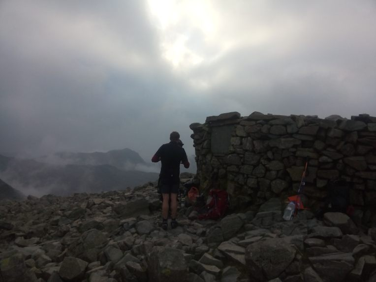 At the summit of Scafell Pike at 08.16