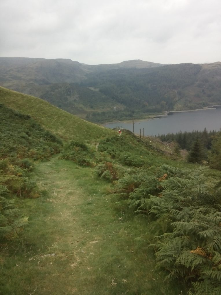 The trail leading up t the summit of Helvellyn. It was not quite as green and grassy at the top!