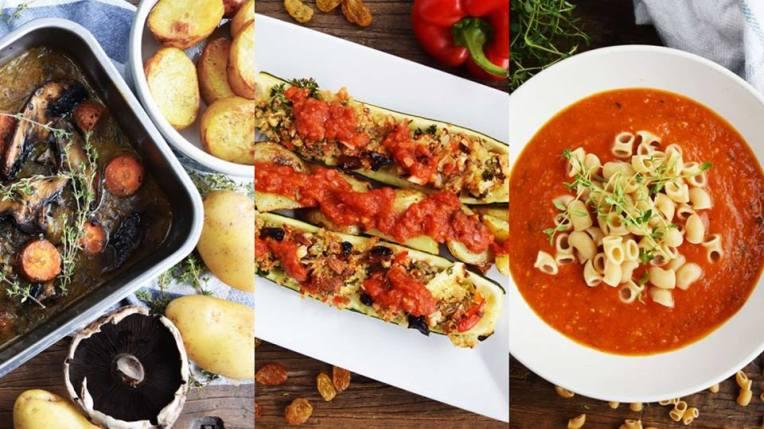 Den nyeste vegetarkassen fra Nettmat: portobello rast, fylt squash med marokkanske smaker, og hjemmelaget tomatsuppe. Bilde gjengitt med tilatelse fra Vegetarbloggen.